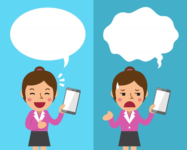 Cartoon businesswoman with smartphone expressing different emotions with speech bubbles Premium Vector