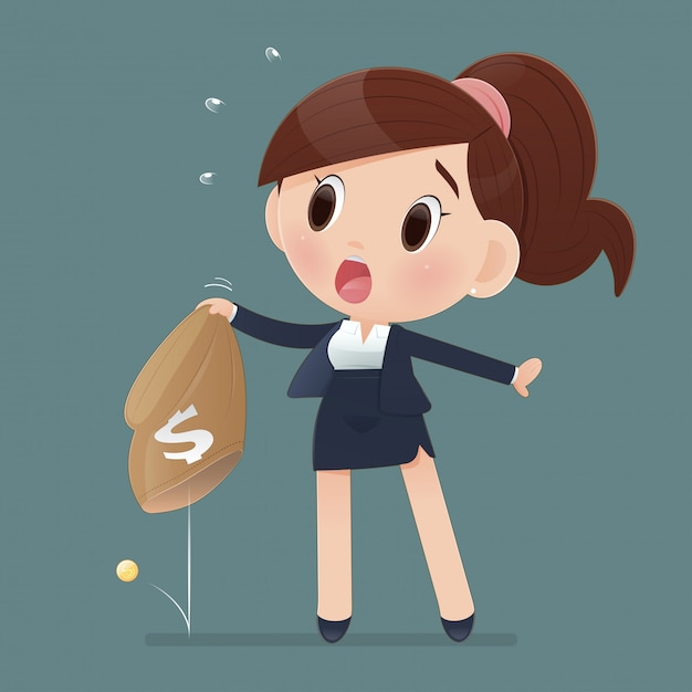 Cartoon businesswoman in workwear and bad economy. women losing money from a bag. the concept of business  illustration. Premium Vector