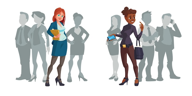 Cartoon businesswomen stand out of crowd Free Vector