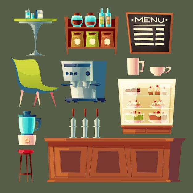 cartoon cafe set - coffee machine, cupboard and table. Free Vector