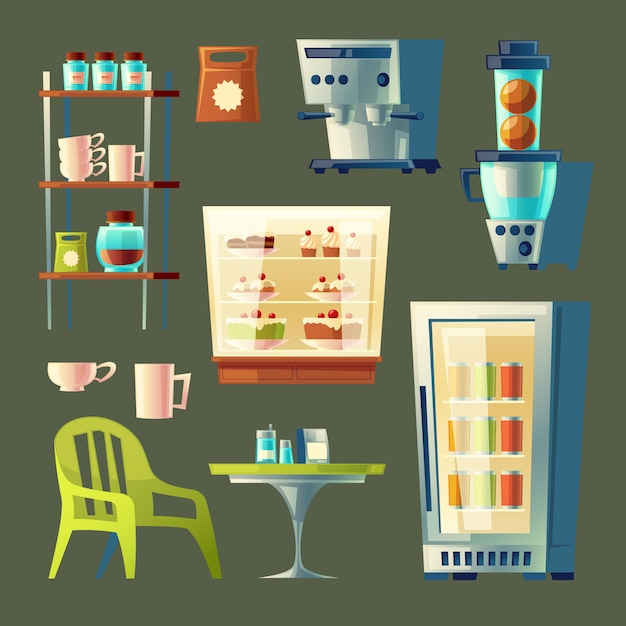 cartoon cafe set - coffee machine, cupboard with utensil and table.  Free Vector