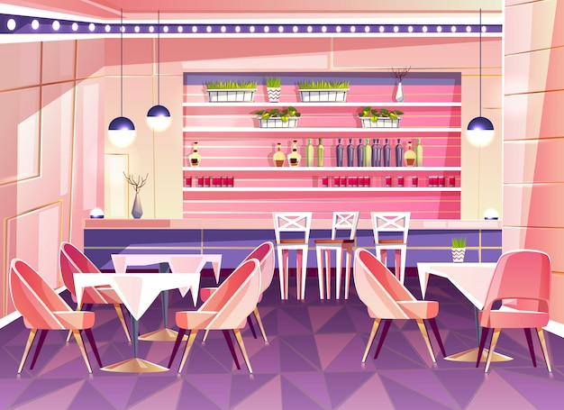 Cartoon cafe with bar counter - cozy interior with plants in pots, tables and chairs. Free Vector