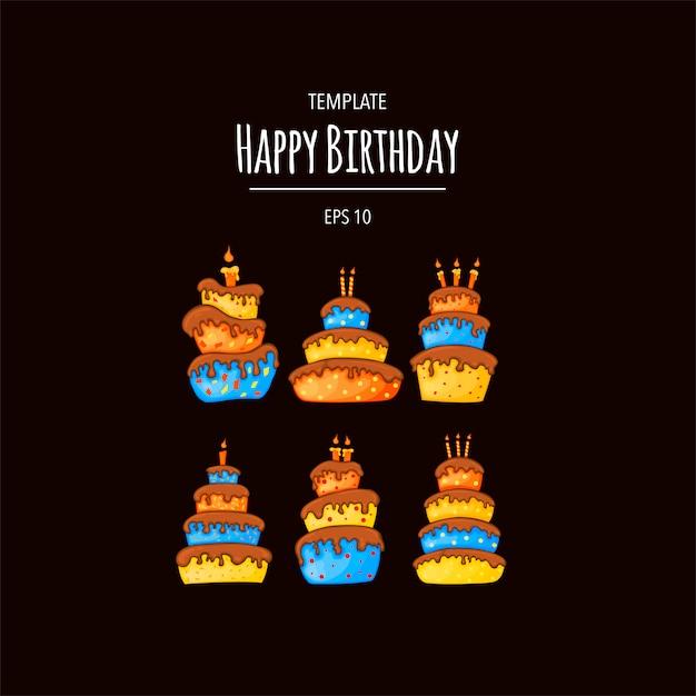 Cartoon cake illustration with candle. happy birhday. set. Premium Vector