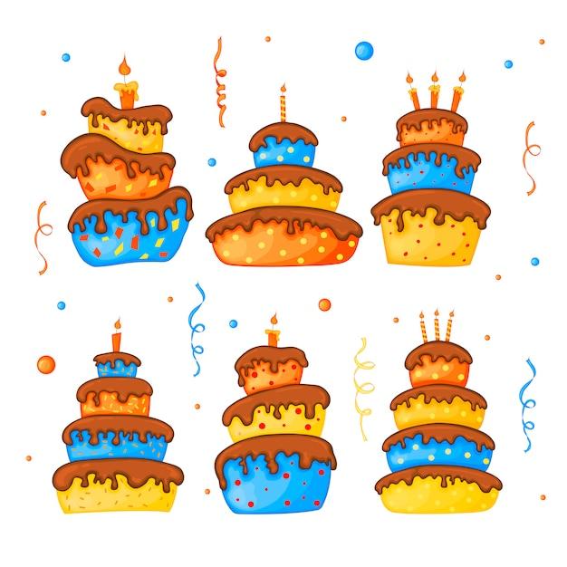 Cartoon cake illustration Premium Vector