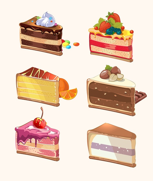 Cartoon cake pieces. snack yummy, berry and tasty, pie with cherry, sweet food, dessert piece. vector illustration Free Vector