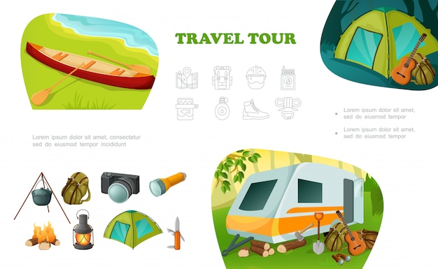 Cartoon camping colorful composition with camper trailer canoe tent guitar backpack pot on fire camera flashlight lantern knife axe Premium Vector