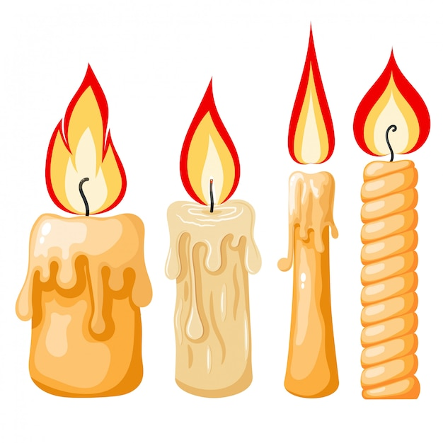 Cartoon of a candle. set of yellow candles with flames in cartoon style. Premium Vector