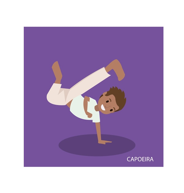 Cartoon of capoeira martial arts with standing hand poses Premium Vector