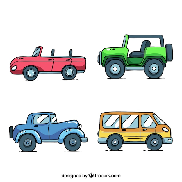 Cartoon car collection with side view Vector | Free Download