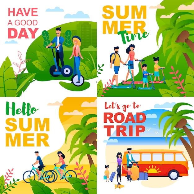 Cartoon cards set with summer motivate quotes Premium Vector
