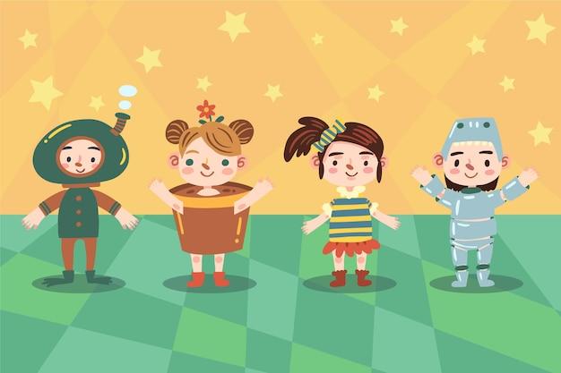Accumulazione dei bambini di carnevale del fumetto Vettore gratuito