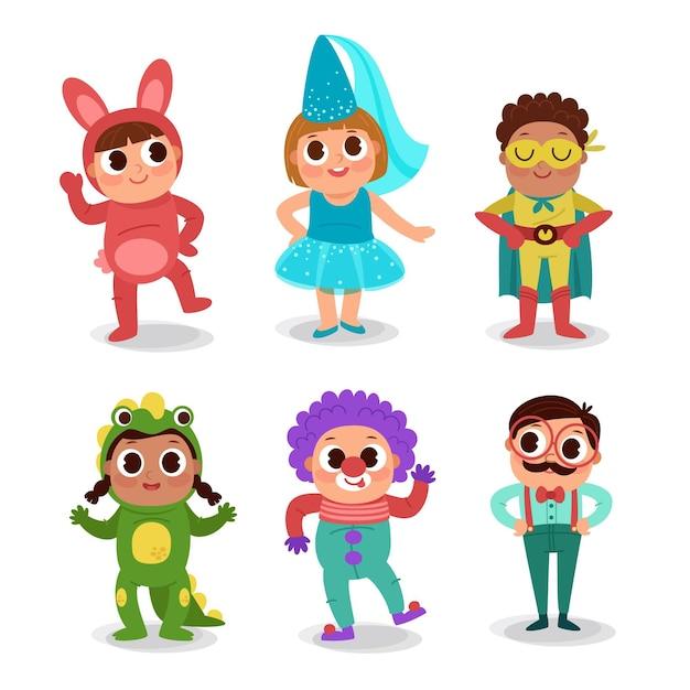 Мультяшный карнавал детская коллекция Бесплатные векторы