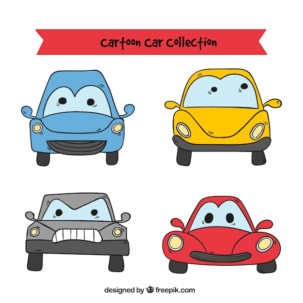 Free Vector Cartoon Cars With Funny Faces