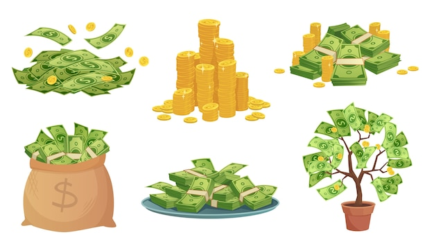 Cartoon cash. green dollar banknotes pile, rich gold coins and pay. Premium Vector