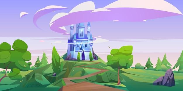 Мультяшный замок, волшебный сказочный дворец с башенками. Бесплатные векторы