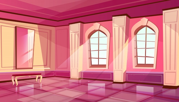 Cartoon castle palace ballroom interior background with royal furniture Free Vector