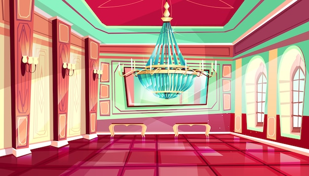 Cartoon castle palace ballroom interior\ background with royal furniture