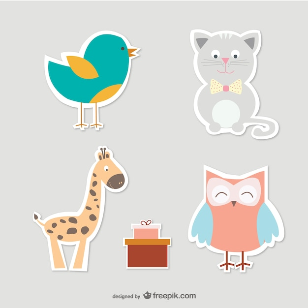 Cartoon cat, bird, owl and giraffe Free Vector