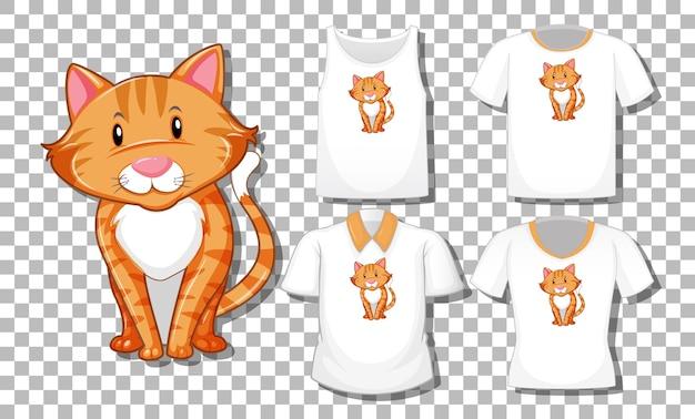 고립 된 다른 셔츠의 세트로 만화 고양이 캐릭터 무료 벡터