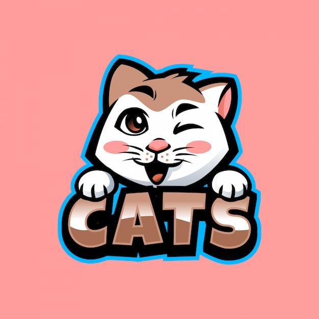 Cartoon cat mascot Premium Vector