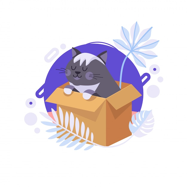 Cartoon Cat Staying In The Box And Thinking About Life Meaning