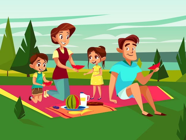 Cartoon caucasian family at outdoor picnic\ party at weekend.