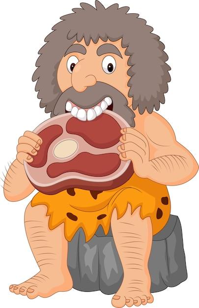 Premium Vector | Cartoon caveman eating meat