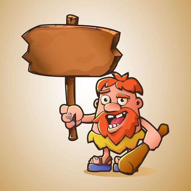 Cartoon caveman with board Premium Vector