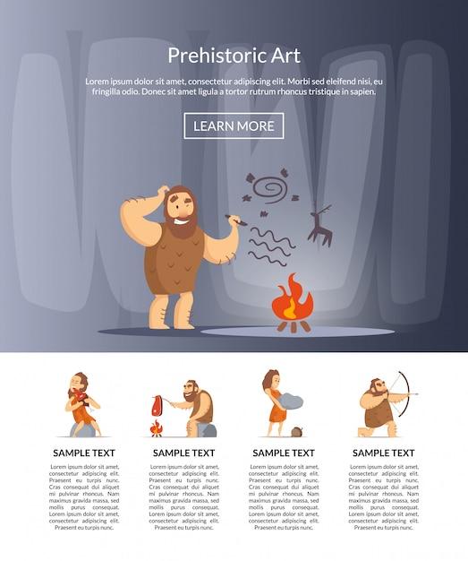 Cartoon cavemen banner for landing page Premium Vector