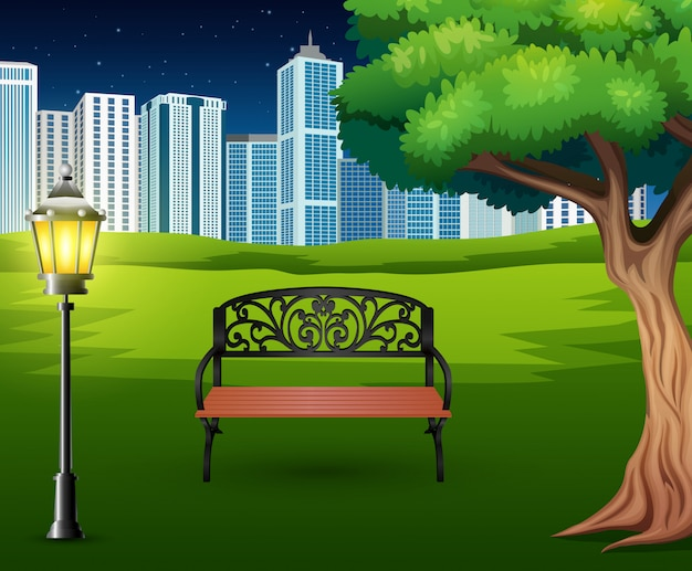 Cartoon of chairs in green park with town building background Premium Vector