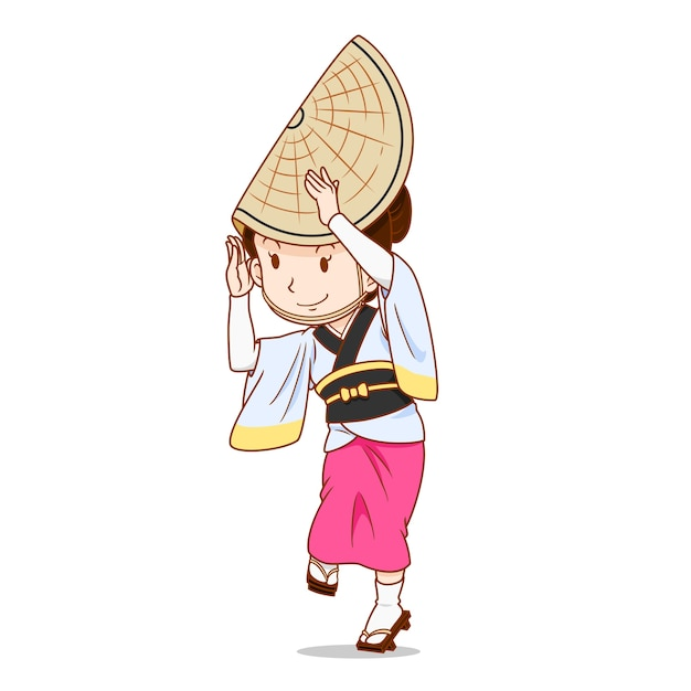 Cartoon character of awa odori dancer Premium Vector