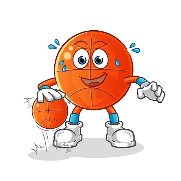 Мультипликационный персонаж баскетбол дриблинг Premium векторы