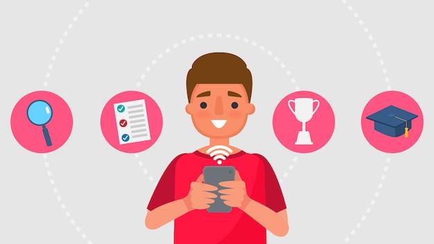 Персонаж из мультфильма мальчик и концепции коммуникации образования. дистанционное обучение информационные технологии иллюстрация образование онлайн учиться дома с эпидемической ситуацией содержание. Premium векторы