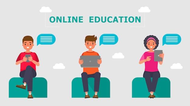 Персонаж из мультфильма мальчик и девочка учащиеся концепции обучения в режиме онлайн. обучение информационным технологиям на расстоянии. Premium векторы