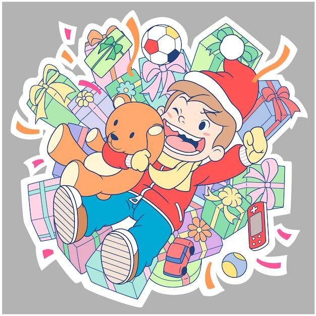 premium vector cartoon character of a boy celebrating new year s day freepik