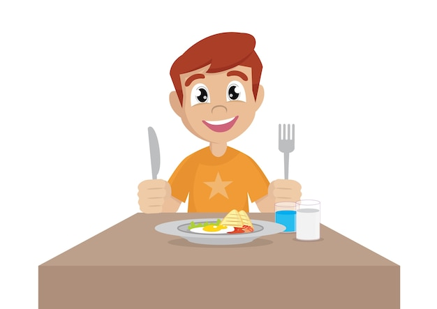 Cartoon Character Boy Eat Breakfast Vector Eps10 Vector Premium