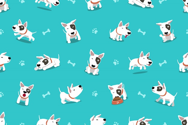 Cartoon character bull terrier dog seamless pattern Premium Vector
