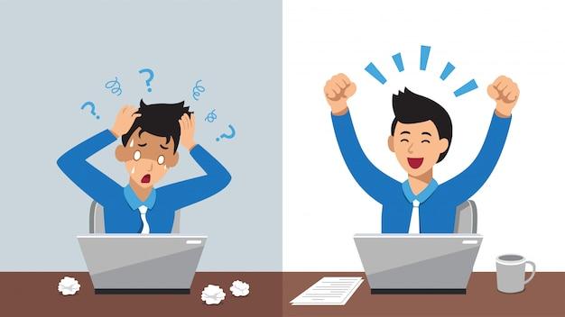 Мультипликационный персонаж бизнесмен, выражая разные эмоции Premium векторы