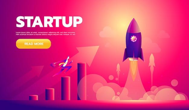 Cartoon character, businessman flying in startup rocket. Premium Vector