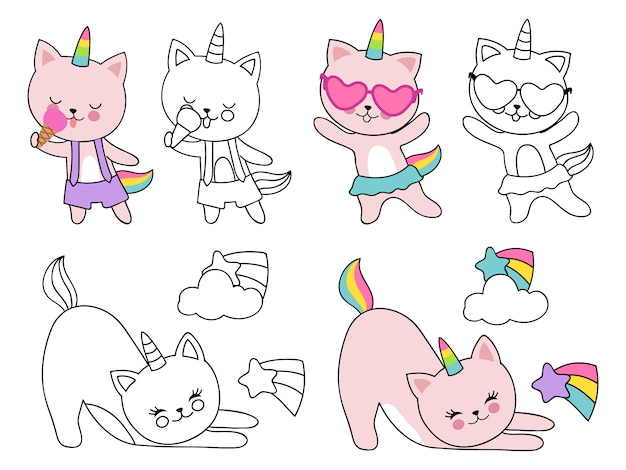 Cartoon character cats unicorn  illustration. coloring with outline and colorful kittens Premium Vector