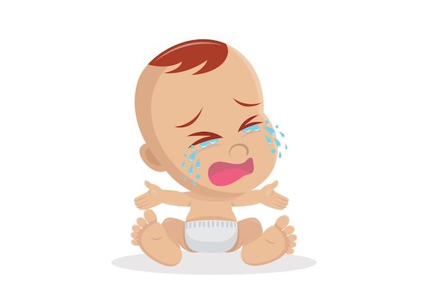 Cartoon character, crying baby boy Premium Vector