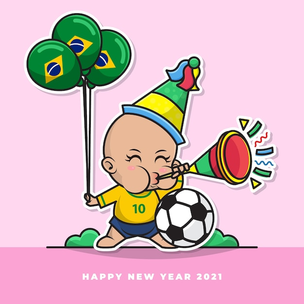 Cartoon character of cute brazilian baby blow the new year's trumpet and carry the national flag balloon Premium Vector