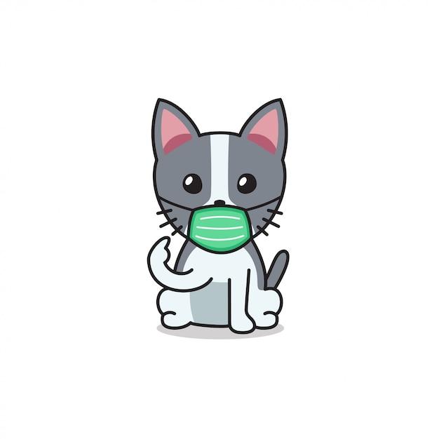 Cartoon Character Cute Cat Wearing Protective Face Mask Premium