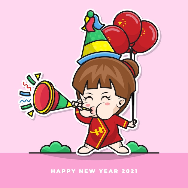 Cartoon character of cute chinese baby blow the new year's trumpet and carry the national flag balloon Premium Vector