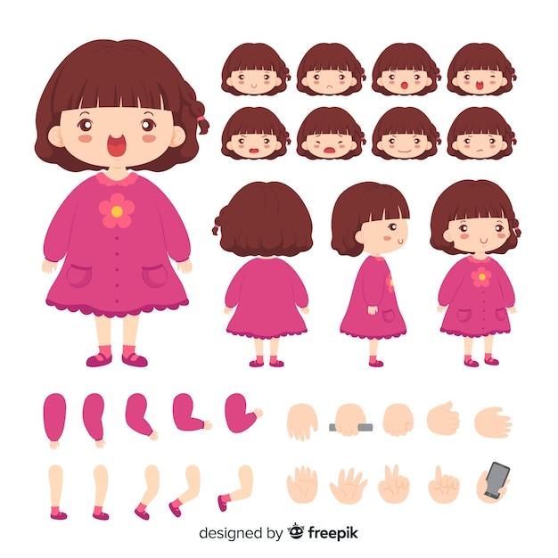 Cartoon character cute girl template Free Vector