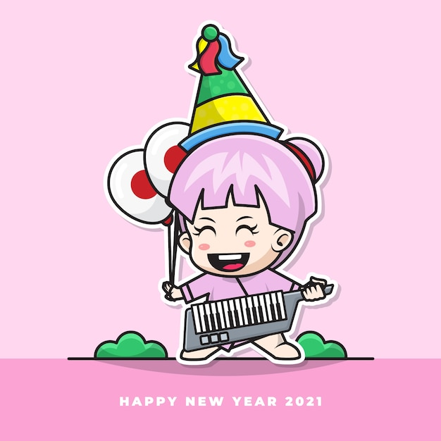 Cartoon character of cute japanese baby blow the new year's trumpet and carry the national flag balloon Premium Vector