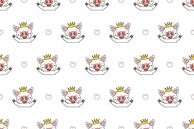 Cartoon character cute pig seamless pattern background Premium Vector