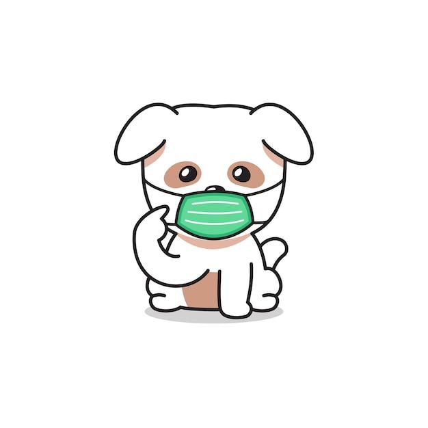 Мультяшный персонаж милая белая собака в защитной маске Premium векторы