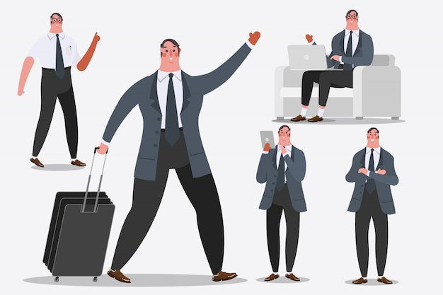 Cartoon character design illustration. Businessman showing Handle luggage, greetings, and computer laptops.