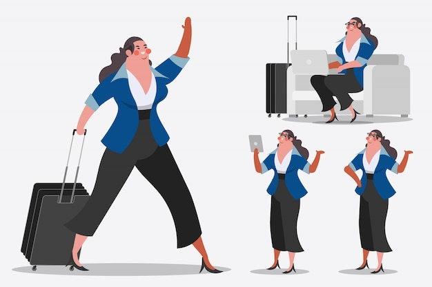Cartoon character design illustration. Businesswoman showing Handle luggage, greetings, and computer laptops.